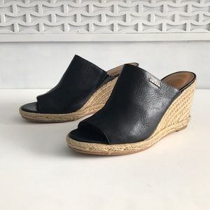 COACH Authentic Genuine Leather black wedges